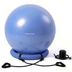 RGGD&RGGL Yoga Ball Chair, Exercise Balance Ball Chair 65cm with Inflatable Stability Ring,  ...