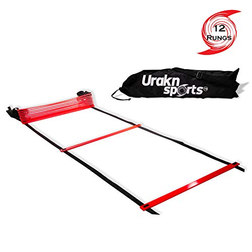 Urakn Sports Red Agility Speed Ladder 12 Rungs 20 Ft Long with Carry Bag for Training, Fitness,  ...