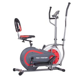 Body Power BRT5088 Trio Trainer Machine 3 in 1 Elliptical Trainer Upright Bike and Recumbent Bik ...