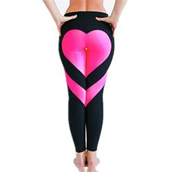 UNKE Women's Heart Shaped High Waisted Patchwork Tights Yoga Capri Compression Leggings,Pink,S