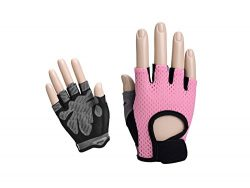Zehaer BBQ Women Fingerless Weightlifting Gloves Half-finger Gym Gloves for Dumbbells Weight Lif ...