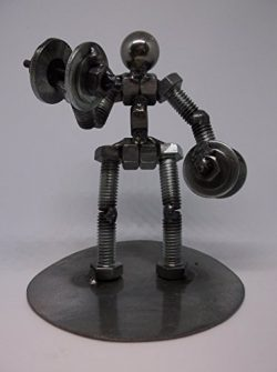 Dumbbell Weight Lifter Metal Bolt Figurine