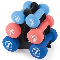 Set of 3 Pairs of Neoprene Body Sculpting Hand Weights with Stand by Crown Sporting Goods (Strength)