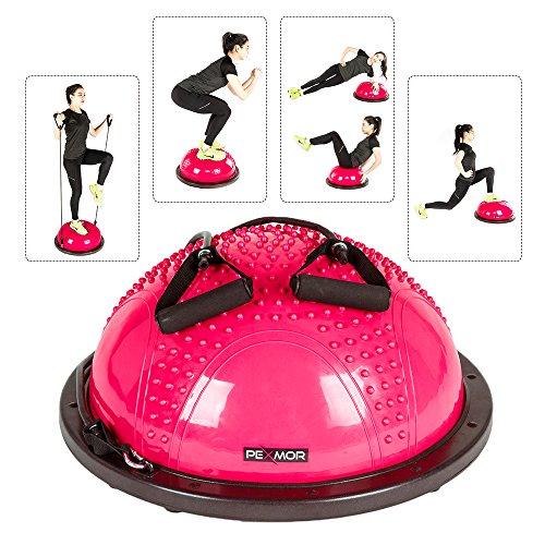 PEXMOR Yoga Half Ball Balance Trainer Exercise Ball Resistance Band Two Pump Home Gym Core Train ...