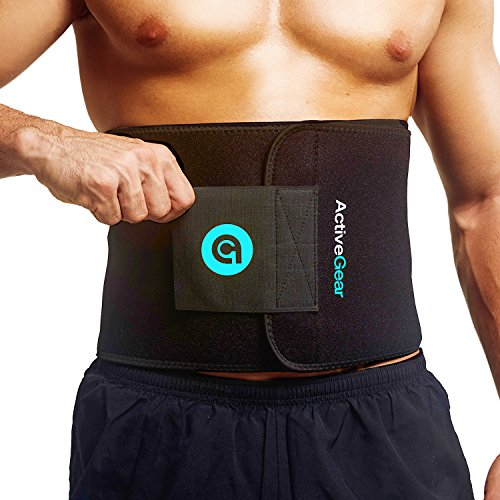 ActiveGear Waist Trimmer Belt for Stomach and Back Lumbar Support, Large: 9″ x 46″ & ...