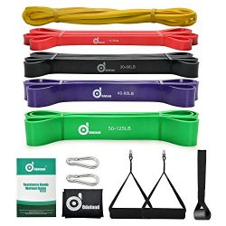 Odoland 5 Packs Pull Up Assist Bands, Pull Up Straps, Resistance Bands with Door Anchor and Hand ...
