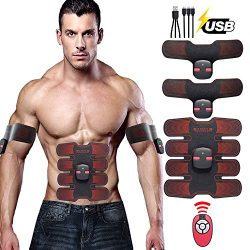 New Upgrade Muscle Toner Portable Adhesive Electrodes Rechargeable, Ultimate EMS Abdominal Muscl ...