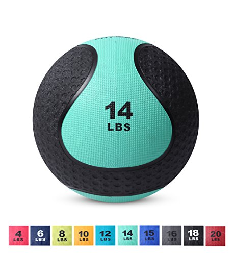 Day 1 Fitness Medicine Exercise Ball with Dual Texture for Superior Grip 14 Pounds – Fitne ...