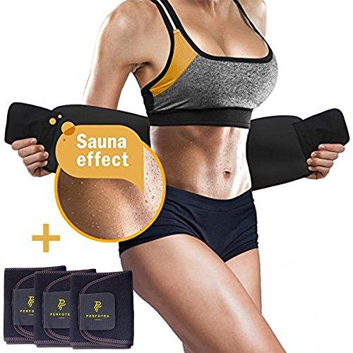 Perfotek 4 Pack Waist Trimmer Belt, Weight Loss Wrap, Stomach Fat Burner, Low Back and Lumbar Su ...