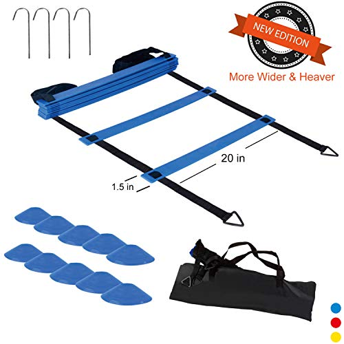 Jack&Baig Agility Ladder Speed Heavy-Duty Plastic Rungs,Agility Training Set with 10 Disc Co ...