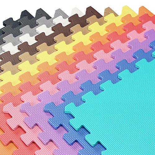 We Sell Mats Foam Interlocking Anti-Fatigue Exercise Gym Floor Square Trade Show Tiles (Black, 6 ...