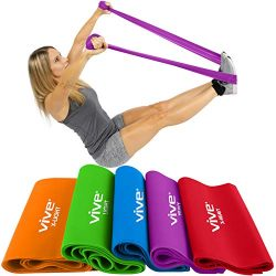 Vive Resistance Band (5 Piece Set) – Elastic Exercise Equipment – Straight Stretchin ...