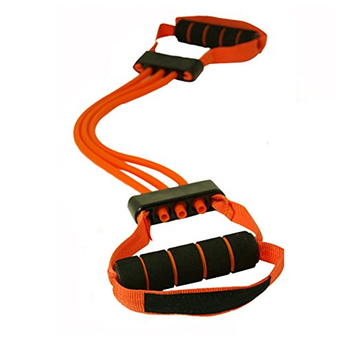 A.B Crew Adjustable Chest Expander Exercise Band with Resistance Cables Training Program Workout ...