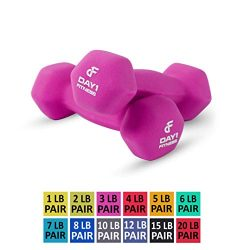 Day 1 Fitness Neoprene Dumbbell Pairs 3 Pounds – Non-Slip, Hexagon Shape, Color Coded, Eas ...