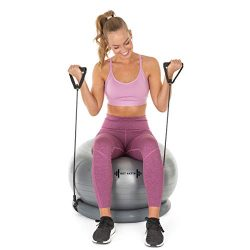 Exercise Ball with Resistance Bands Home Gym Set – 1 Yoga Ball (65cm) + Stability Base, 2 Exerci ...
