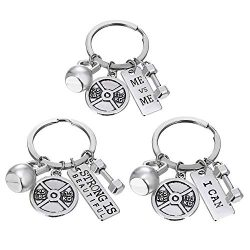 Beemean Unisex Stainless Steel Keyring Body Weight Lifting Fitness Gym Exercise Barbell Dumbbell ...