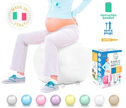 White Baby Bump Best Yoga Ball Exercise Trainer – Workout Equipment – core Balance & ...