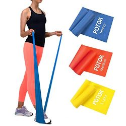 Potok Resistance Band Set, 3Pack Latex Elastic Bands for Upper & Lower Body & Core Exerc ...