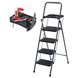 Finether Folding 4 Step Ladder with Platform Lightweight Portable Step Stool with Tool Project T ...