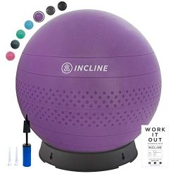 Incline Fit Base & Pump 55/65/75cm Anti-Burst Exercise Ball for Balance/Stability/Yoga/Pilat ...