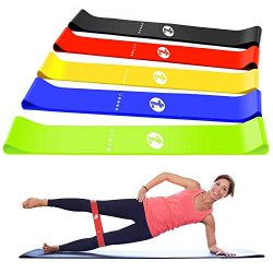 TOPLUS Resistance Bands, Exercise Bands, Set of 5 Exercise Loops Workout Bands for Leg, Ankle, S ...