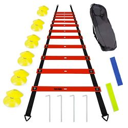 TOCO FERIDO 20ft Agility Ladder Set with 12 Rungs, 12 Sports Disc Cones, 4 Metal Pegs, 2 Resista ...