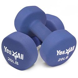 Yes4All Non-Slip, Hexagon Neoprene Dumbbells – 20lbs Neoprene Dumbbell Set for Muscle Toning, St ...