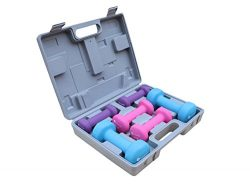 Gymenist Dumbbell Set With Hard Carry Travel Plastic Case Includes 3 Pairs (1LB – 2LB &#82 ...