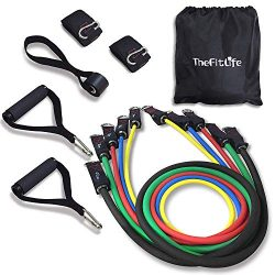 TheFitLife Exercise Resistance Bands with Handles – 5 Fitness Workout Bands Stackable up t ...