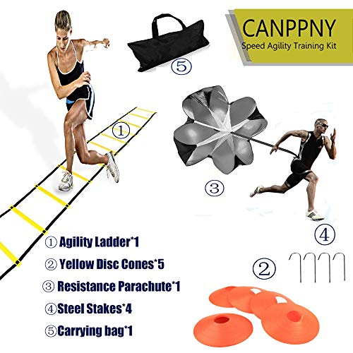 CANPPNY Speed Agility Training Kit—Includes Agility Ladder with Carrying Bag, 5 Disc Cones, Resi ...