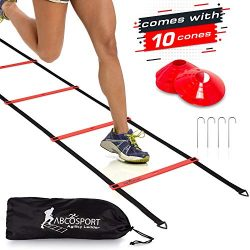 Speed Agility Ladder with 12 Adjustable Flat Rungs, 15 ft Long – Perfect Training Equipment for  ...