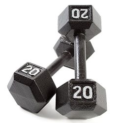 CAP Barbell Cast Iron Hex Dumbbell Weights (Pair), Black, 20 lb