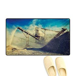 Door Mats,Rock Stone Crushing Machine Open Pit Mining Quarry Sand Dust Photo,Bath Mats for Bathr ...