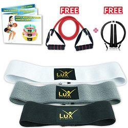 Lux Fitness Booty Resistance Bands Loop Hip Exercise Workout -Set of 3 Stretchable Elastic Thick ...
