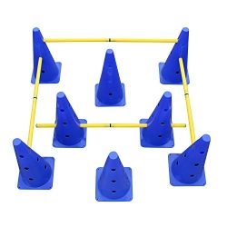 MiMu | Hurdle Cone Set – Training Cones and Agility Poles – Adjustable Agility Ladder Speed Trai ...