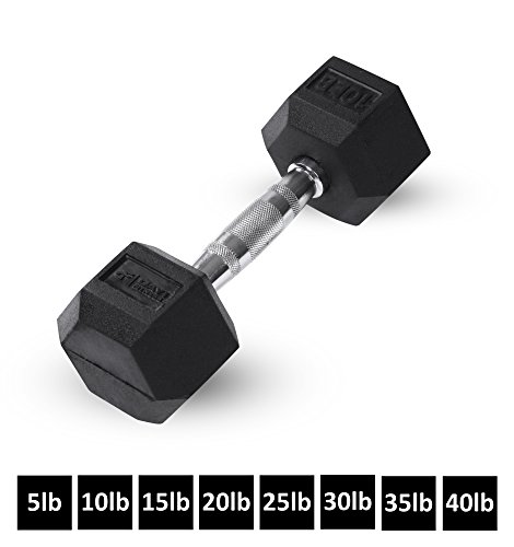 Day 1 Fitness Rubber Hex Dumbbell Shaped Heads to Prevent Rolling and Injury – Ergonomic H ...