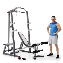 Marcy Home Gym Fitness Deluxe Cage System Machine with Weight Lifting Bench