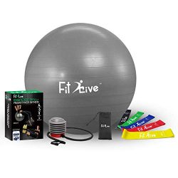 Fit2Live Exercise Ball for Yoga,Stability,Fitness,+ FREE Resistance Bands, 2 in 1 exercise packa ...