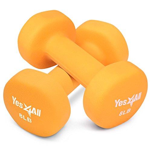 Yes4All Neoprene dumbbells set of 1-pair: 8 lbs (16 lbs total) – ²DSAXZ