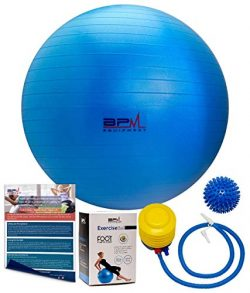 BPM Premium Exercise Ball with Pump, Bonus Massage Ball! Access to Workout Guide. Yoga Ball, Sta ...