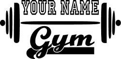 CreativeSignsnDesigns Gym name w/barbell- customized vinyl wall decal fitness (dark blue, 17.5&# ...