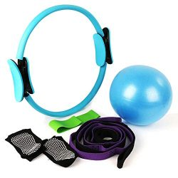 CleanDell 15'Pilates Ring Set,Yoga Fitness Circle,Resistance Loop Exercise Band,Pilates Ba ...