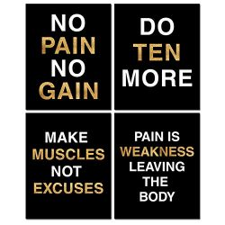 Gym Inspirational Posters,Classroom Office Wall Art Decals,8×10 Inch, Set of 4