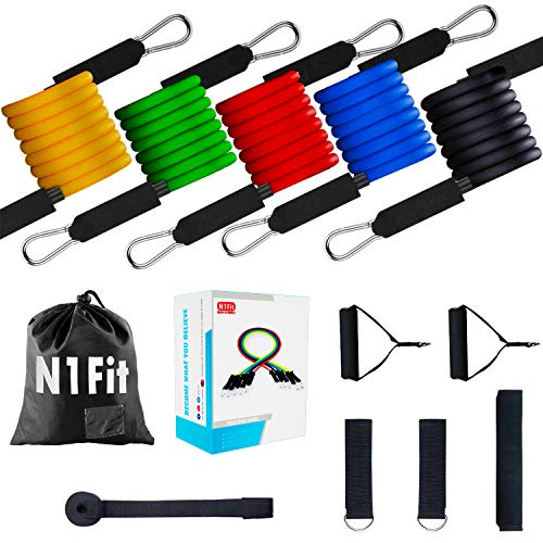 Resistance Bands Set – 11pcs Exercise Bands with Door Anchor, Ankle Straps and Handles  ...