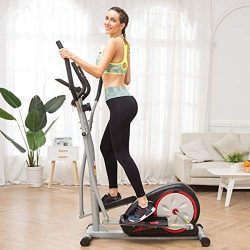 Aceshin Elliptical Machine Trainer Compact Exercise for Home (Silver)