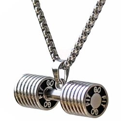 Men's Stainless Steel Fitness Gym Dumbbell Weight Lifters Barbell Chain Pendant Necklace S ...