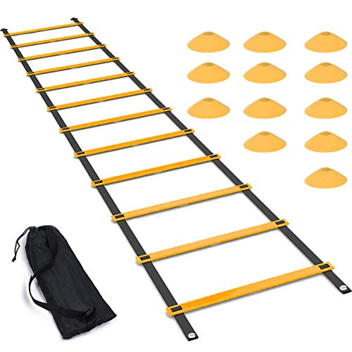 Luniquz Agility Ladder Set, 20FT Speed Training Ladder with 12 Adjustable Rungs, Plus 12 Disc Co ...