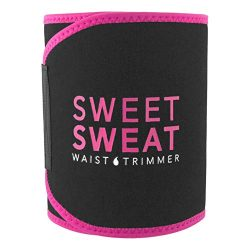 Sweet Sweat Waist Trimmer (Pink Logo) for Men & Women. Includes Sweet Sweat Sample Gel! (XXL)