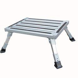 TUOGAO Portable Rv Step Stool Adjustable Height Aluminum Platform Step rv Step with Adjustable L ...
