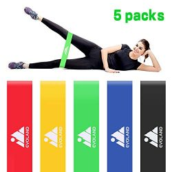 Resistance Loop Exercise Bands Set of 5 for Women Men Legs Butt Arms Shoulders Home Workout Yoga ...